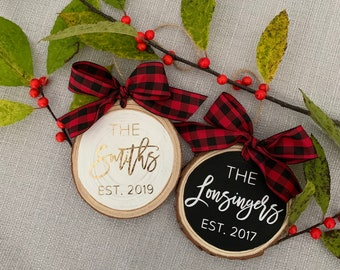 Personalized Wood Slice Ornament | Newlywed Gift | Wedding Gift | Personalized Ornament | Name Ornament | Family Name Christmas Ornament