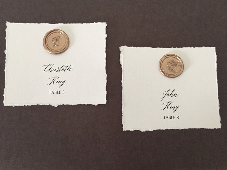 Wax Seal Place Cards  Wedding Place Cards  Guest Name Card  image 0