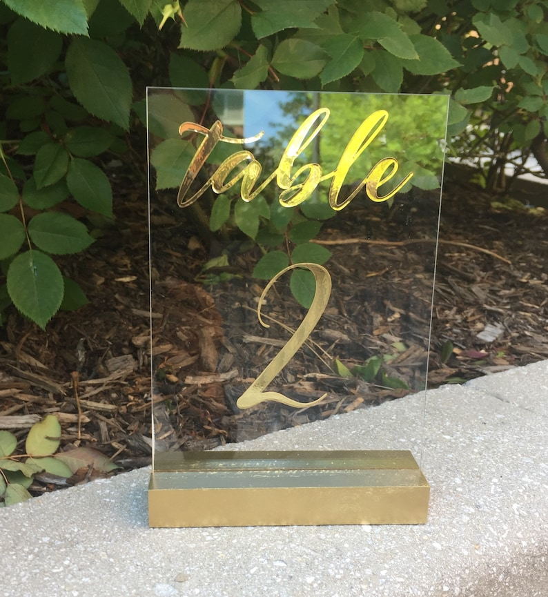 Wedding Table Numbers  Gold Table Numbers  Acrylic  Gold image 0