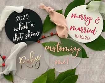 Personalized Acrylic Ornament | Custom Ornament | Holiday | Gifts | Christmas Ornament | Newlywed Gift | Personalized Gift | Wedding Gift