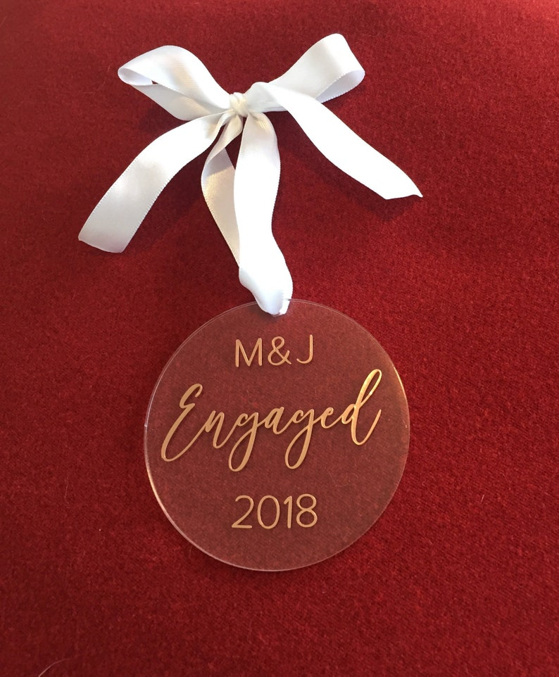 Our First Christmas Engaged Ornament  Personalized Acrylic image 0