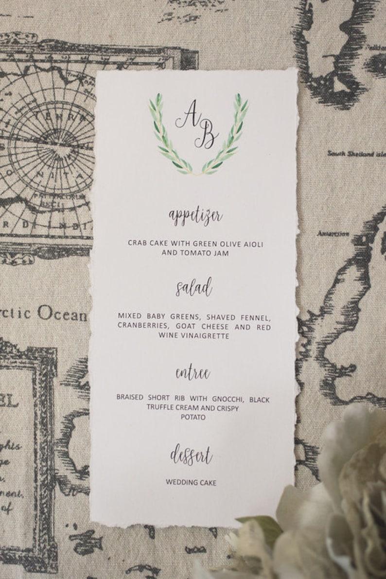 Deckle Edge Wedding Menu  Olive Wreath Crest Menu  Monogram image 0