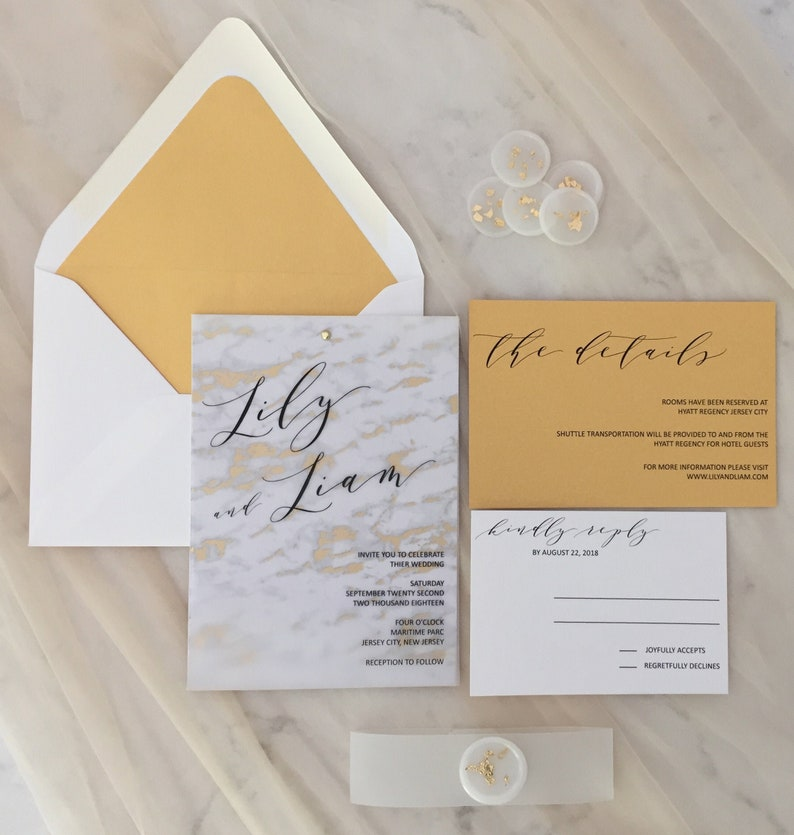 Gold Marble Vellum Wedding Invitation