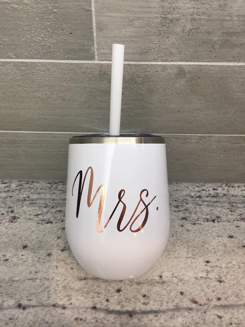 Mrs. Wine Tumbler  Bride Cup  Personalized Wine Tumbler  image 0