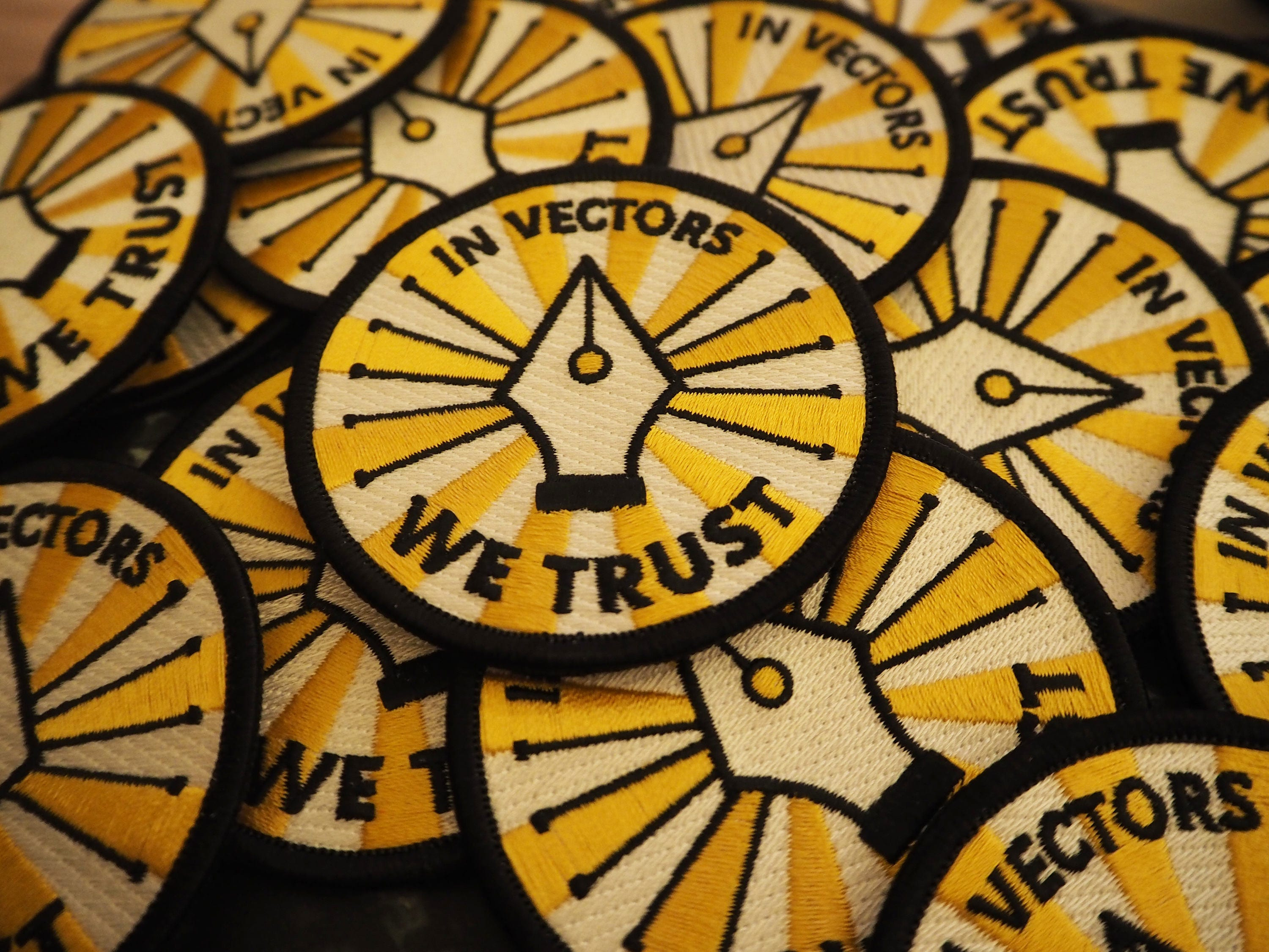 In Vectors We Trust - Iron-on Embroidered Badge Patch (Graphic  Design/Illustrator/Creative)