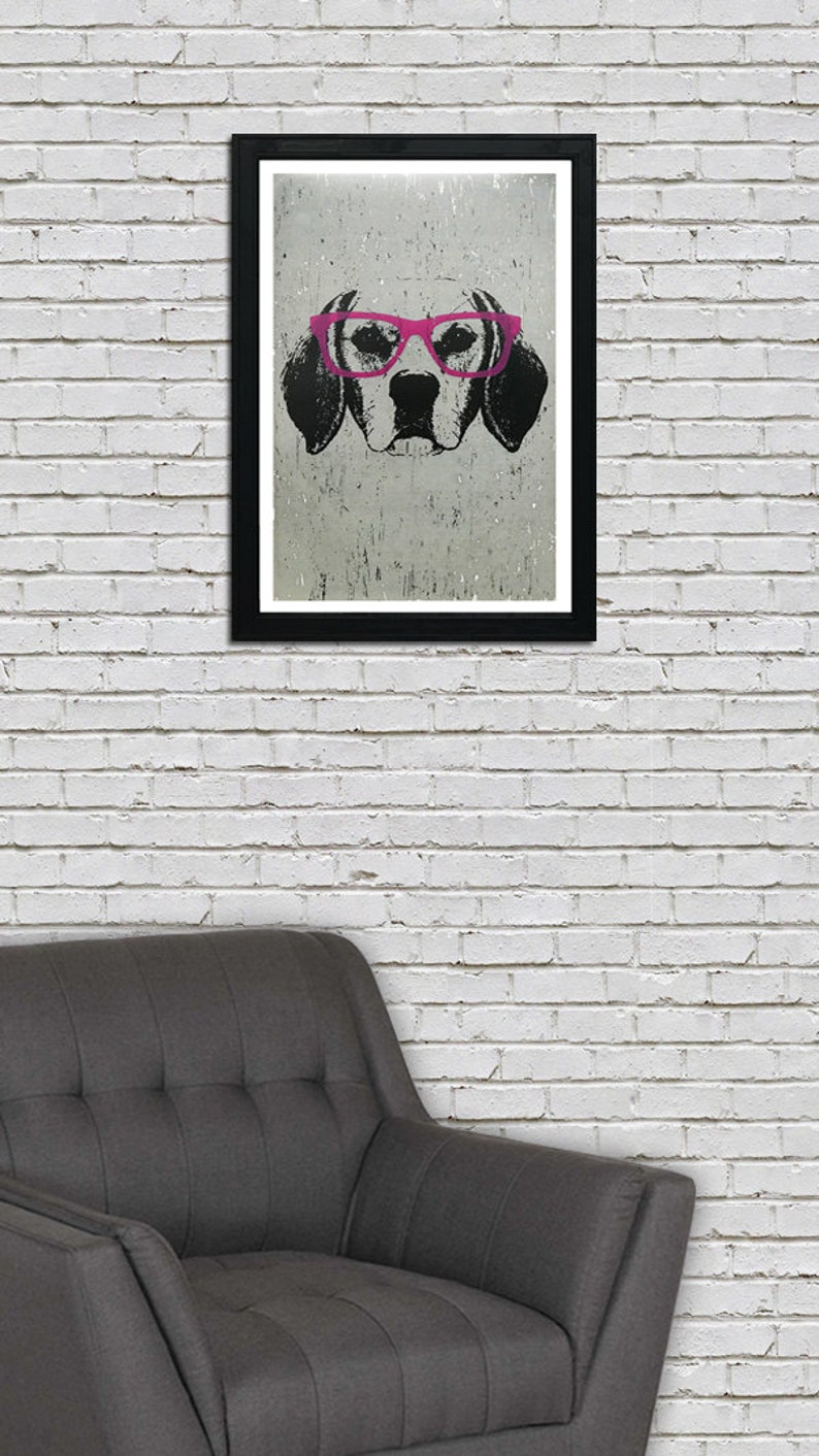 13x19 Gifts for Dog Lovers With Pink Glasses Beagle Art Print