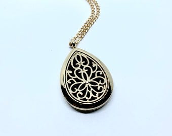 Diffuser Necklace, Round, Teardrop Diffuser, Scent Diffuser, Magnetic Filigree Pendant, Essential Oil Necklace, Perfume Locket Necklace# 202