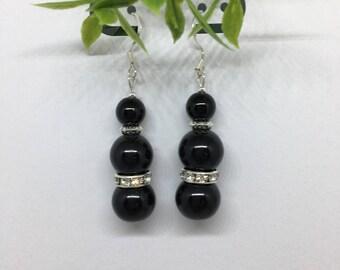 Earrings, Black Earrings , Women Jewelry,  Round Earrings,  Dangle Earrings, Gift For Mom,Sister,Wife, Women Earrings, Beaded Earrings # 92