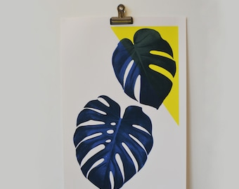 A3 Minimalist Blue & Yellow Swiss Cheese Plant Screen Print. Hand made and Original
