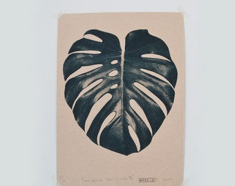 A4 Black Swiss Cheese Plant Screen Print. Hand made and Original