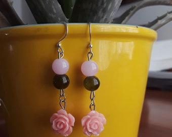 Pink Jade Flower Earrings - Handmade - Crystal beads