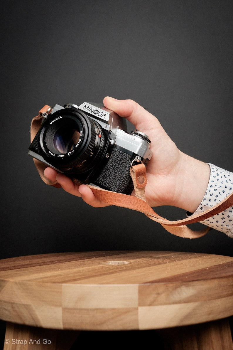 English Tan Camera Strap Handmade With Horween Derby Side Leather And Cooper Rivets