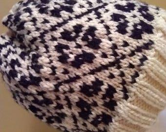 Fair-isle Bun Hat