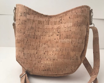 Cork Bag/Hobo Bag/Crossbody Bag/Purse/Pouch with Adjustable Strap- Natural Cork