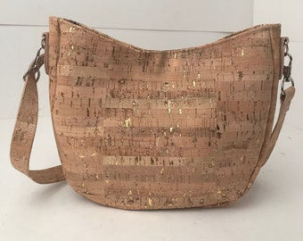 Cork Bag/Hobo Bag/Crossbody Bag/Purse/Pouch with Adjustable Strap- Gold Metallic