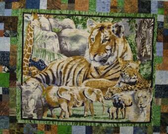 Twin Bed Quilt. Safari Quilt. X-Long Twin Quilt. Animal Quilt. Batik Quilt