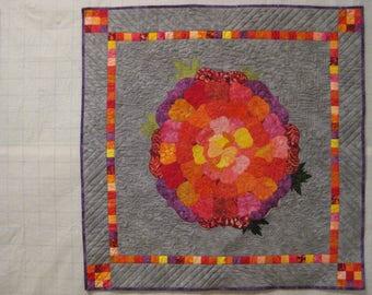 Shades of Red Flower Wall Quilt. Flower Wall Hanging. Flower Fiber Art.