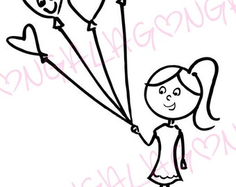 Balloon Girl Digital Stamp