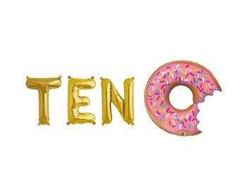 Ten Letter Balloons,Ten Gold Letter Balloons,Tenth Birthday Donut Theme,Donut Theme Birthday,Donut Theme Party,Ten Year Old Birthday Party