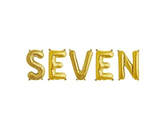 Seventh BirthdaySeven Gold BalloonsSeven Letter Balloons7th Birthday7th Birthday Balloons7 Balloon