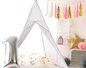 Tipi tent for kids quot Little princes II quot - girls teepee tent,gold teepee tent, canvas teepee, wigwam, gold indoor tent, toddler teepee tent