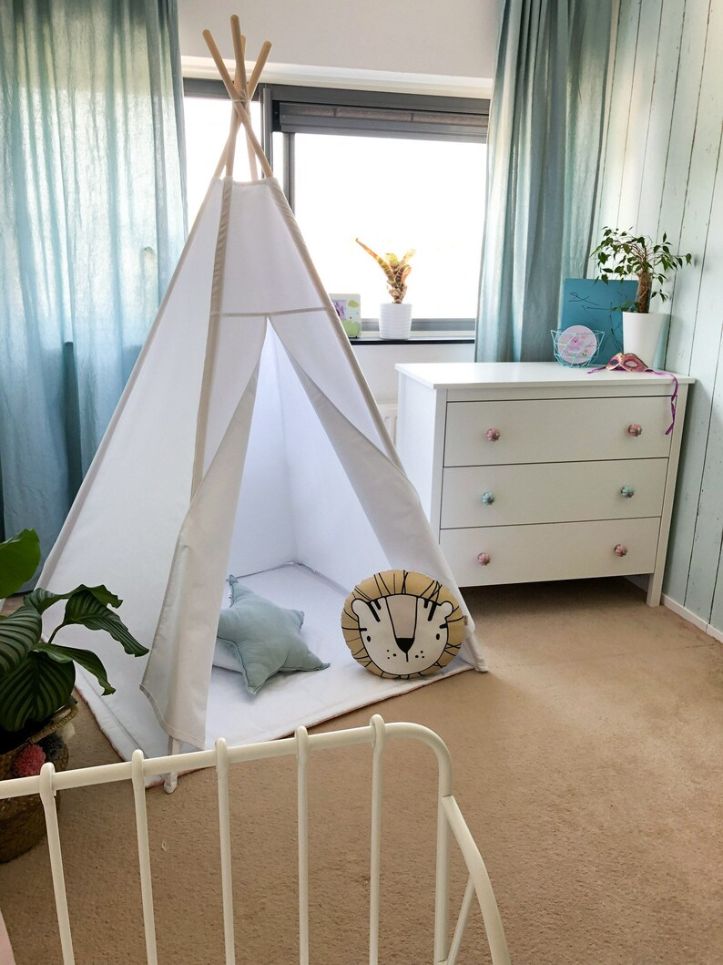 image 0 ... & Tipi tent for kids WHITE TIPI teepee tent play tent canvas | Etsy