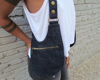 Thick Upcycled Denim - Upcycled Floral Print cotton Holster Bags/ Holster Purse