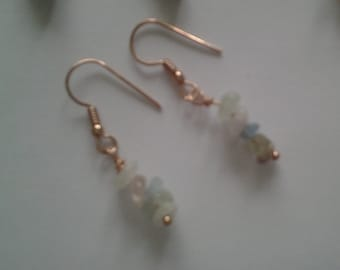 Multi coloured beryl earrings with rose gold plated ear wires