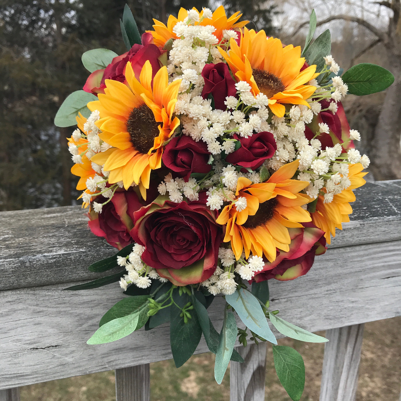 Sunflower Wedding Bouquet Ideas: Sunflower Bouquet Bridal Bouquet With Sunflowers And Roses