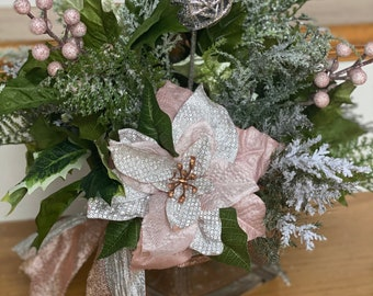 """5x5"""" Blush Pink Poinsettia Glam Winter Holiday Centerpiece / Glass Christmas Centerpiece - Shimmery Silver, Peonies, holly, pink berries"""