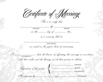 photograph about Printable Marriage Certificates named Romance certification Etsy