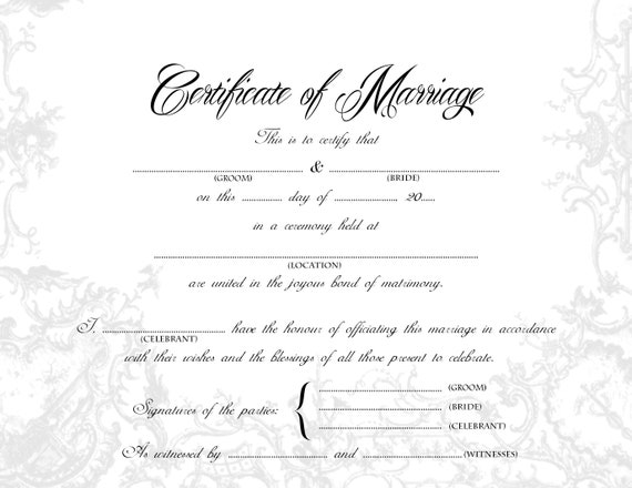 It's just a photo of Printable Marriage Certificate regarding church