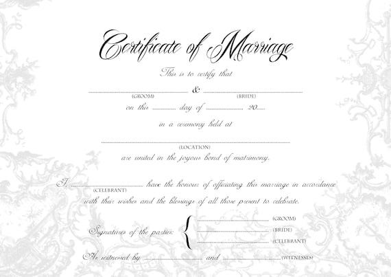Stylish Wedding Certificate Bride Groom A4 Us Legal Size Printable Monotone Gold Blank Keepsake Marriage Certificate