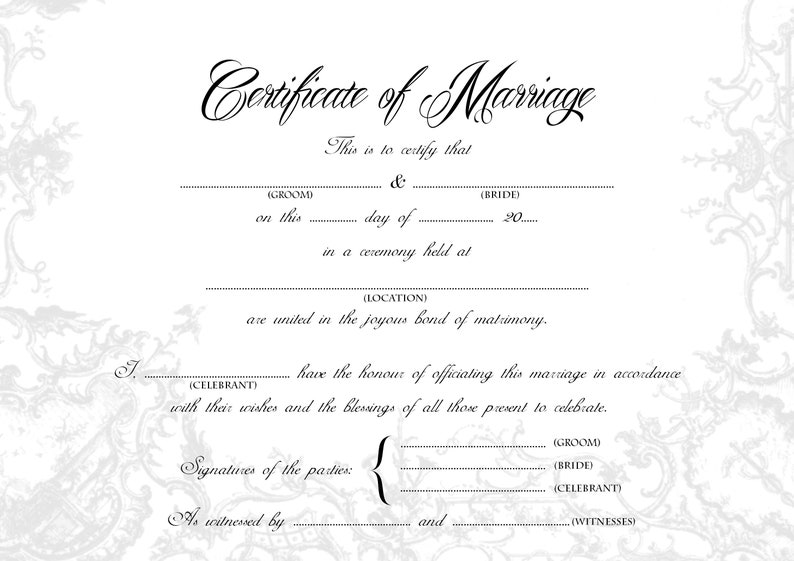 graphic about Printable Marriage License named Exquisite Wedding ceremony Certification, Bride/Groom A4 US Prison Dimensions Printable, Monotone, Gold, Blank, Keepsake Relationship Certification