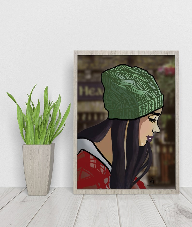 The Girl in the Hat Dematerialized Poster  Printable art image 0