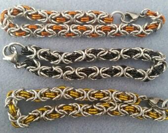 Byzantine Chainmaille bracelet, Aluminum