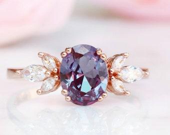 Eva Alexandrite Ring- 14K Rose Gold Vermeil Ring- Engagement Ring Promise Ring Color Changing Stone June Birthstone Anniversary Gift For Her