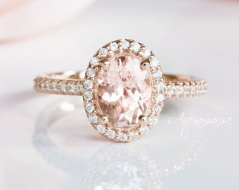 14K Solid Rose Gold Morganite Ring- Morganite Engagement Ring- Promise Ring- Oval Morganite Ring - Pink Gemstone - Anniversary Gift For Her