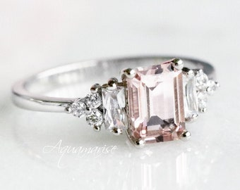 Amelia Morganite Ring- Sterling Silver Ring- Engagement Ring- Promise Ring- Emerald Cut Morganite Ring- Anniversary Birthday Gift For Her