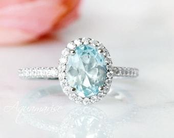 Anniversary Engagement March Birthstone Birthday Gift for Her Blue Gemstone Aquamarine Sterling Silver Ring Pear Cut