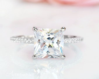 3ct Princess Simulated Diamond Engagement Wedding Ring Real 925 Sterling Silver