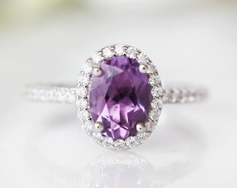 February birthstone oxidized Amethyst ring multistone Amethyst ring Amethyst ring