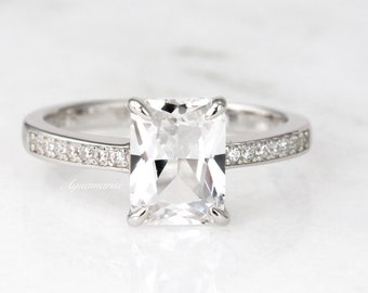Diamond Cut White Sapphire 925 Sterling Silver Engagement Ring Size 5.75