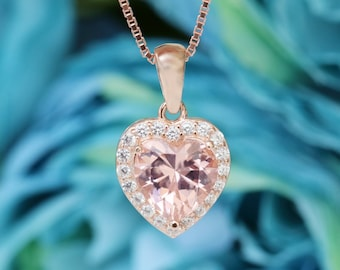 3c14cd27474a 14k Rose Gold Pink Morganite Heart Necklace Women Bridal Morganite Jewelry  Heart Birthday Anniversary Birthday Valentines Gift For Her