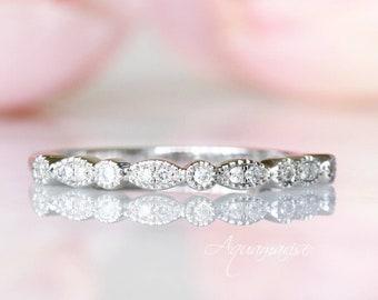 Sterling Silver Wedding Band - Art Deco Milgrain Wedding Band- Matching Ring- Vintage Wedding Band- Stacking Ring-  Anniversary Gift For Her