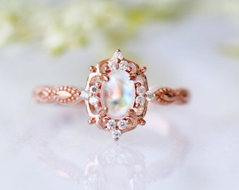 2918392a4d Vintage Moonstone Ring- Natural Moonstone- 14K Rose Gold Ring- Engagement  Promise Ring- June Birthstone- Anniversary Birthday Gift For Her
