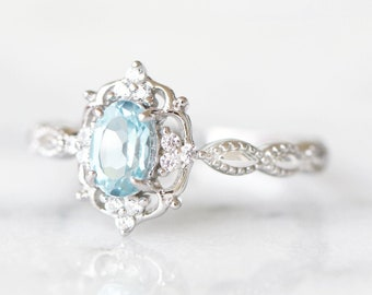 Vintage Aquamarine Ring- Art Deco Ring- Genuine Sterling Silver-March Birthstone- Engagement Promise Ring-Anniversary Gift For Her