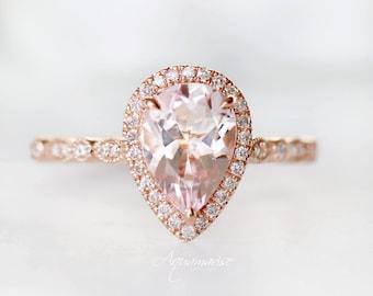 7mm Morganite RingEngagement Ring14k Rose Gold925 Sterling SilverDainty RingPromise RingAnniversary RingUnique Engagement Ring