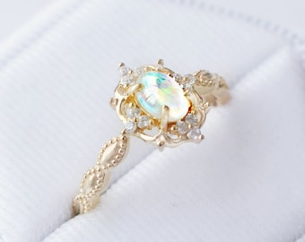 Vintage Natural Opal Ring-14K Yellow Gold Vermeil Ring Engagement Promise Ring October Birthstone-Elegant Anniversary Birthday Gift For Her