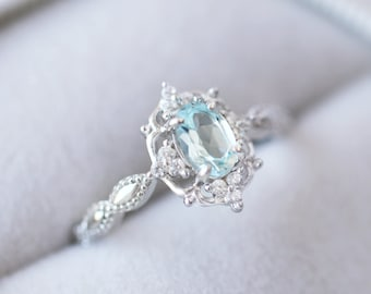Fine Rings Buy Cheap Real Aquamarine Engagement Rose Cut Victorian Diamond 925 Sterling Silver Ring